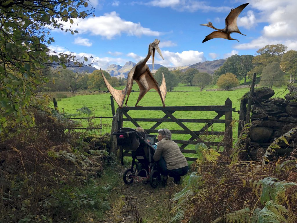 Two Pterodactyl superimosed on a picture of the english lake district